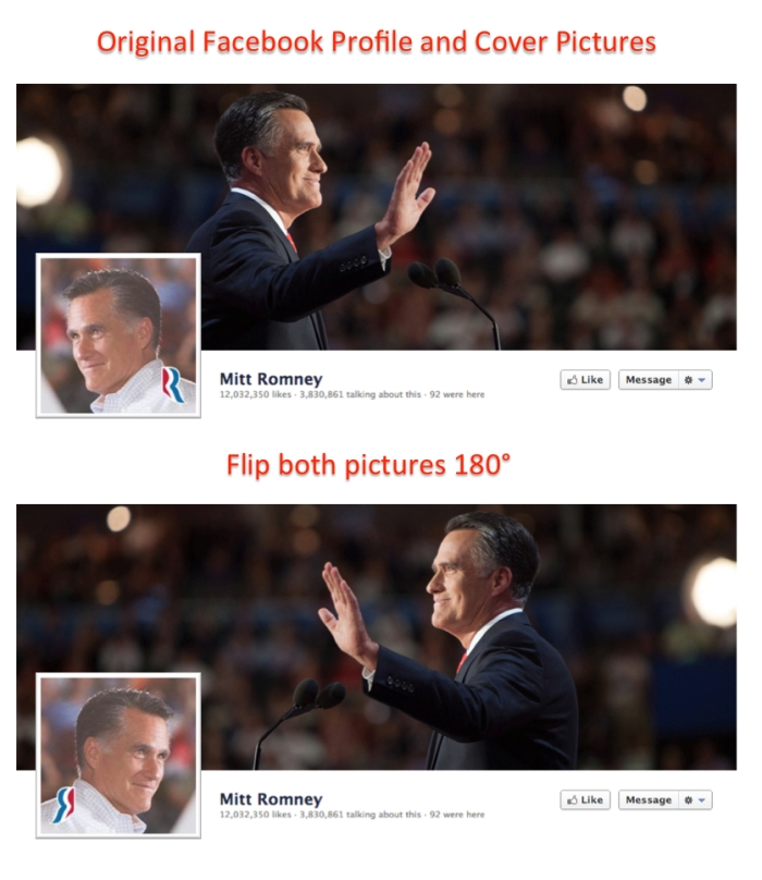 Flipping the elements of Mitt Romney's Facebook page we come away with a completely different impression.